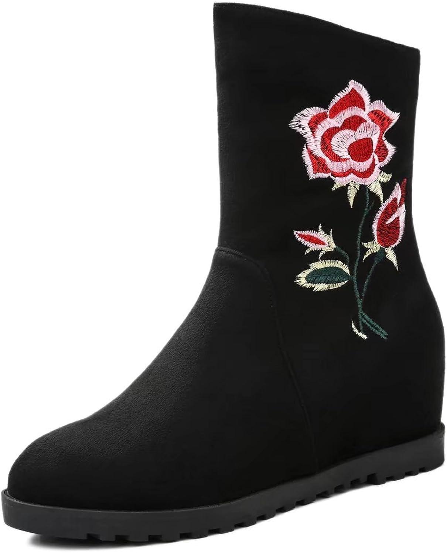 KingRover Women's Fashion Flat Heel Side Zipper Embroidered Hidden Wedge Heel Ankle Boots