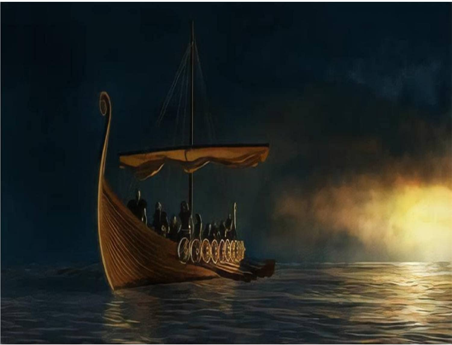 Award Paint by Numbers Kits Viking Ship Gold sea Under Calm on The Bargain sale