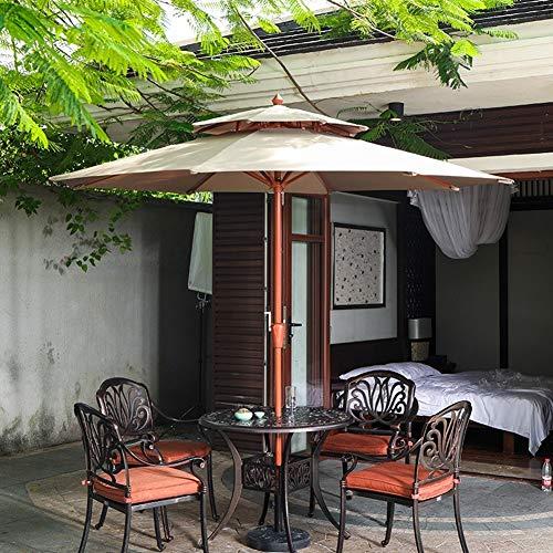 Parasol Jardin Sombrillas Terraza Playa Sombrilla para patio de 2.7m / 9 pies, Sombrilla para mesa de mercado exterior de 8 costillas, Sombrilla de jardín para sombrilla, Varilla de acero de grano de