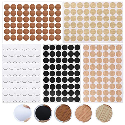 Gobesty Tapas autoadhesivas para cubrir muebles, 5 hojas, impermeables, diámetro de 21 mm, pegatinas a prueba de polvo, 270 unidades