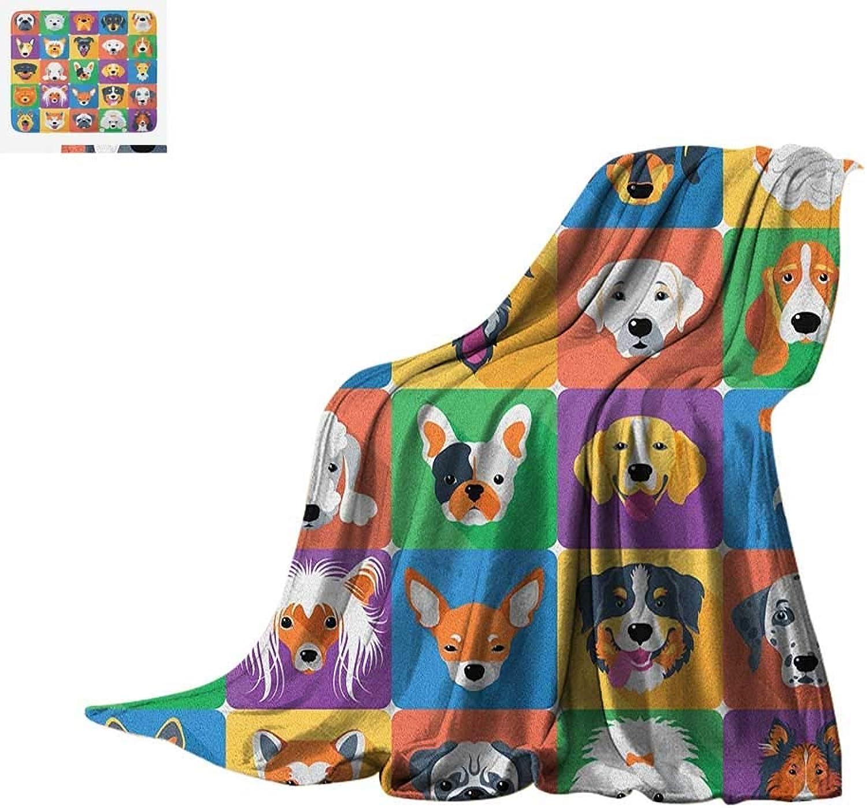 VAMIX Dog Warm Microfiber All Season Blanket Dog Breeds Profiles Pets Shepherd Terrier Labrador Domestic Animals Illustration Summer Quilt Comforter 60 x36  Purple Green