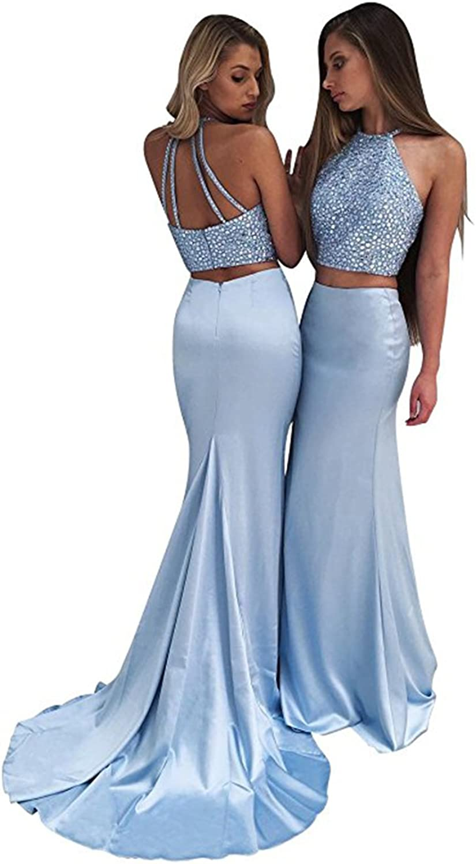 SDRESS Women's Halter Mermaid 2 Pieces Prom Dress Satin Crystal Beaded Evening Gowns