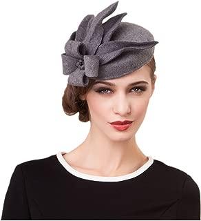 Womens Wool Felt Fascinator Cocktail Race Fancy Cheltenham Fesitval Hat A302,Gray,One Size