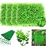 uyoyous 12PCS 24x 16 Artificial Boxwood Panels Topiary Hedge Plant Privacy Screen UV Protected Faux Greenery Wall Backdrop Mats for Outdoor Indoor Backyard Garden Decor (Artificial Eucalyptus Leaves)