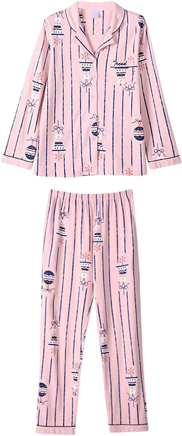 Tortor 1Bacha Women's Cartoon Sleepwear Long Sleeve Button Shirt Pants Pajama Set
