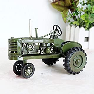 TLLDX Vintage Iron Vehicle Model Large Green Retro Tractor Retro Handicraft Collectible Iron Art Sculpture for Car Lover Home Desk Workplace Office Decoration-DX2098