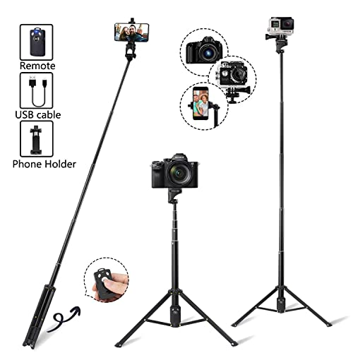 Eocean 54-Inch Selfie Stick Tripod, Extendable Selfie Stick with Wireless Remote, Compatible