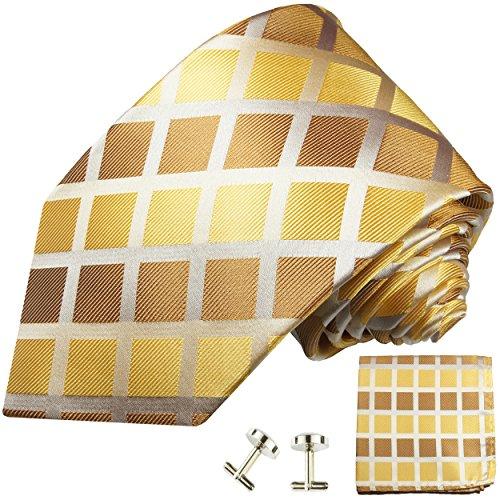Cravate à carreaux or marron ensemble de cravate 3 Pièces ( 100% Soie Cravate + Mouchoir + Boutons de manchette )
