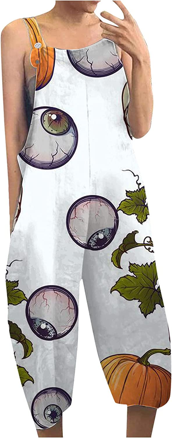 Women's Halloween Sleeveless Tank Jumpsuit Funny Pumpkin Witch Printed Casual Loose Wide Leg Pants Romper with Pockets