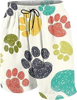 ボーイズ ハーフパンツ 海パン カラフルな小さな犬の足 ショートパンツ サーフパンツ 五分丈 ボードショーツ 速乾 水陸両用 アウトドア 海水浴 普段着 街着 柔らかい 7-20歳が適当