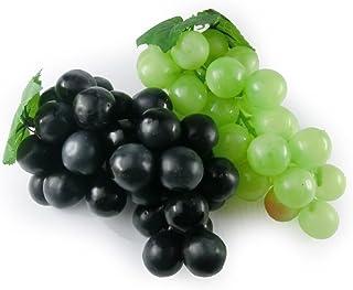(Black&Green) - GuCra Artificial Fruit, Grape 2 Clusters Pack, L-16cm, Fruit Model (Black & Green)