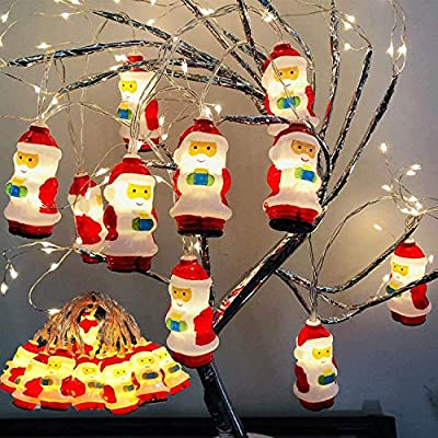 LED Christmas Snowman LED Lights - Santa Claus String Battery Operated Lights with 10 LEDs,for Indoor Outdoor Christmas Tree Garden Party Livingroom Bedroom Decoration (2M)