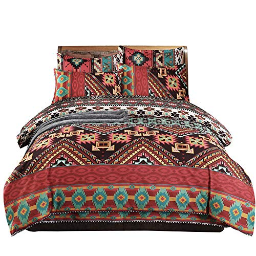 Boho Duvet Cover Set Queen,Colorful Bohemian Theme Comforter Cover Chic Printed Soft Microfiber Southwest Style bedding Set,Bohemia Striped Exotic Patterns Design Bedspread Cover with Zipper Closure