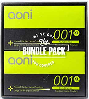 Aoni Condoms Value Pack - XL Ultrathin 001 24 PCS Bundle Pack - Premium 001 Series - Water Based Lubricant