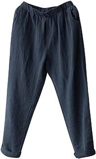 Qootent Women Linen Harem Pants Elastic Loose Trousers Casual Plus Size Pants