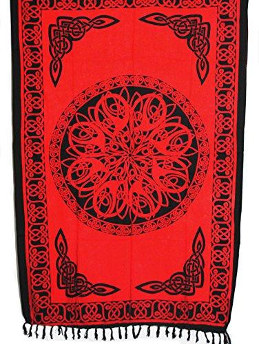 Sarong Pareo Keltisches Blumen Mandala rot Wickelrock Strandtuch Tuch Wickelkleid
