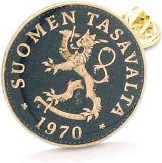 The Traveling Penny Finland Coin Lapel Pin Tie Tack Suit Vintage Jewelry Helsinki Rovaniemi Scandinavia Scandinavian Suomi Suomen Tasavalta Lion korut