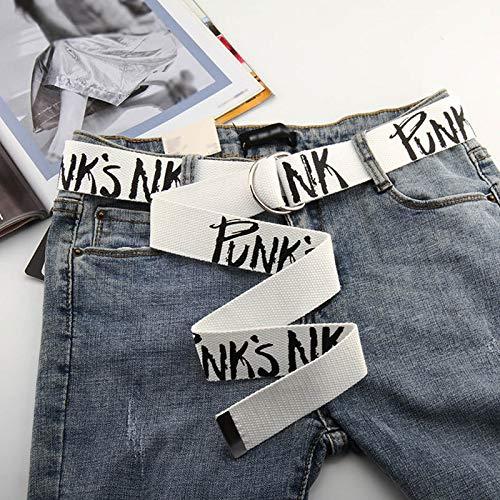Gürtel Punk Canvas Gürtel Frauen Männer Harajuku Letter Flame Printing Lange Taille Riemen D Ringschnalle Schwarz Weiß Weibliche Hose Jeans Gürtel Styles6White