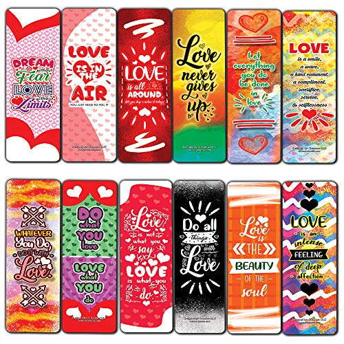 Creanoso Love Bookmarks (12-Pack)– Premium Gift Set – Awesome Bookmarks for Adult Men & Women, Teens, Boys, Girls – Six Bulk Assorted Bookmarks Designs – Business Giveaways - Page Binders