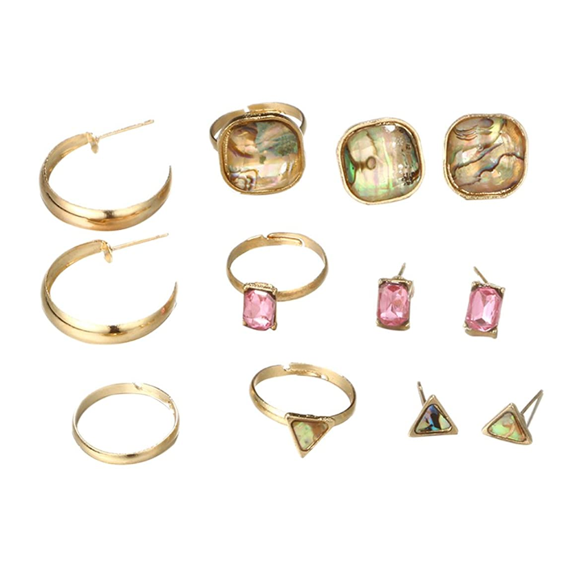 856store 8 Pcs Women Geometric Hoop Earrings Ear Studs Band Opening Rings Jewelry Set