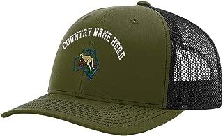 Custom Richardson Trucker Hat Australia & Kangaroo Embroidery Country Name Snaps