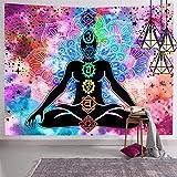 Hexagram Seven Chakra Tapestry Trippy Yoga Meditation Tapestry Wall Hanging Hippie Wall Art Mandala Wall Tapestry Home Decor, 51x59 Inches