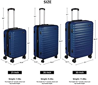 AmazonBasics Hardside Spinner, Carry-On, Expandable Suitcase Luggage with Wheels, 21 Inch, Navy Blue