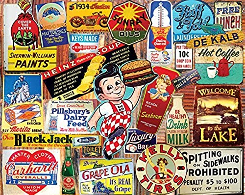 blanc Mountain Puzzles Vintage Signs Jigsaw Puzzle (1000 Piece) by blanc Mountain Puzzles