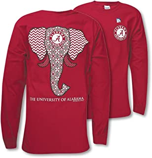 Southern Couture SC Classic Alabama Crimson Tide Elephant on Long Sleeve Womens Classic Fit T-Shirt - Cardinal