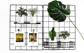 Wall Grid Panel, Grid Wall Photo Display Hanging, Foldable Office Wall Decor Iron Rack, Photograph Wall Mesh Organizer, Ins Art Display Picture Wall Hangers (Pack-1, 25.6 x 17.7 Inches)