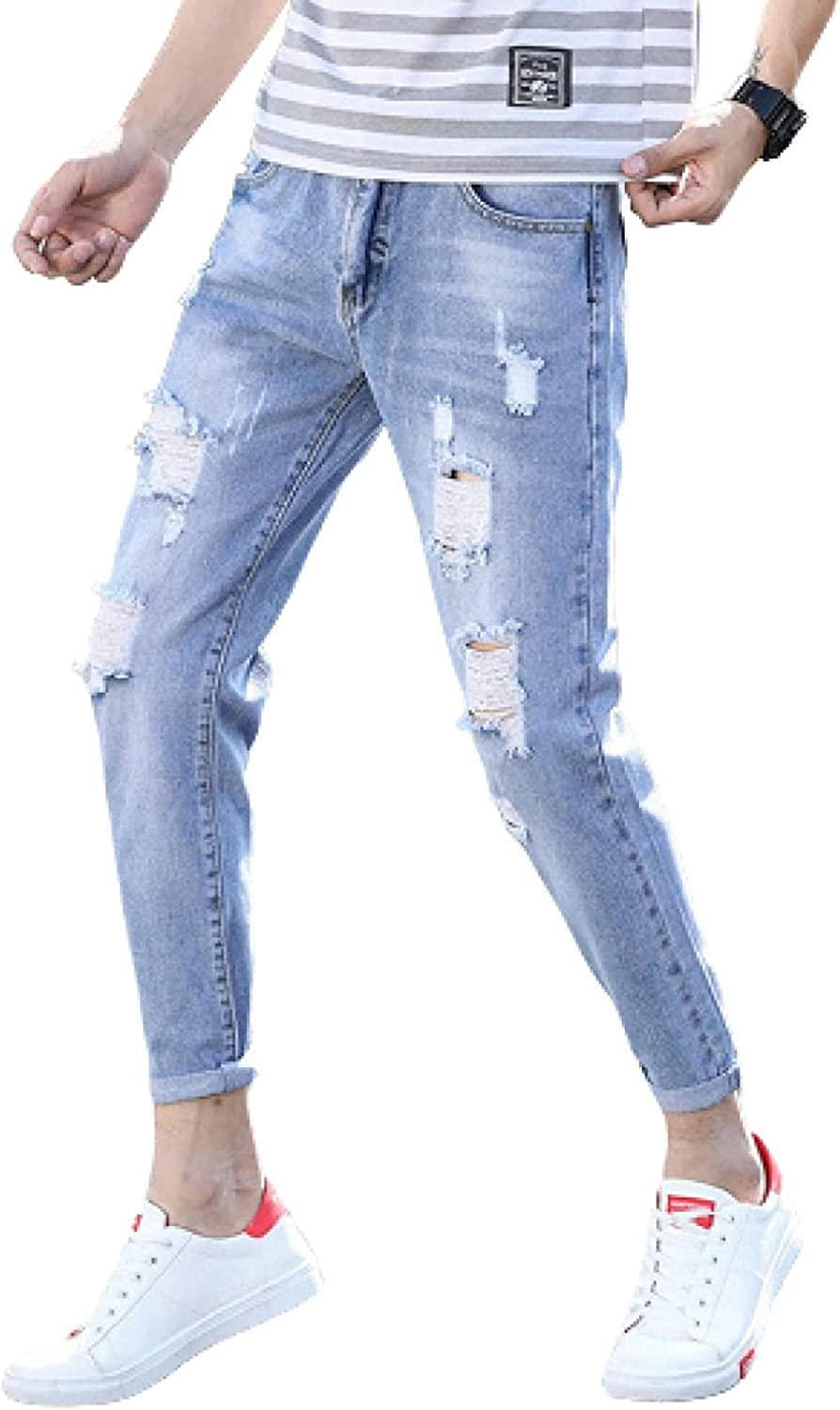 Susanlife Baltimore Mall Men's Jeans Bombing free shipping Ripped Stretch Washed Light Blue Slim-fit