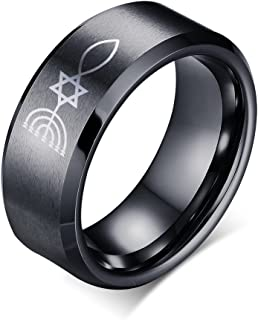 8MM Stainless Steel Messianic Menorah Star of David Cross Fish Wedding Band Ring,3 Color,Size 5-13