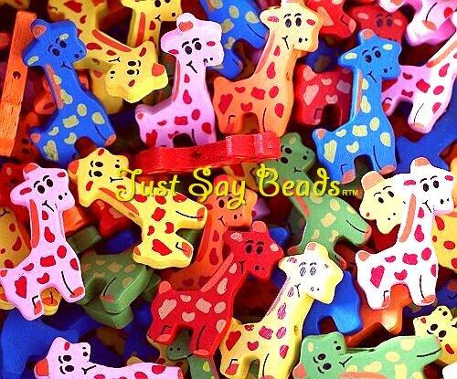 **Grande vente!! **GIRAFES Lot de 15 mm Perles Bois (33,5 sans fil élastique **- Children's Perle en forme d'ANIMAL