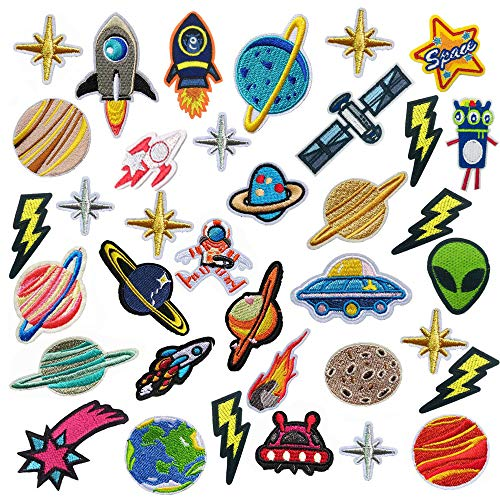 Embroidered Clothing Patches, The Galaxy Iron On Sew On Decoration Applique Sticker Patches for Backpacks Jeans Coats Costumes Hats, 35pcs