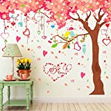 Amaonm Giant Huge Pink Cherry Tree Wall Decals Cute Cartoon Removable Large Tree Lovely Heart Shape Wall Sticker Peel Stick for Kids Girls Bedroom Livingroom TV Background