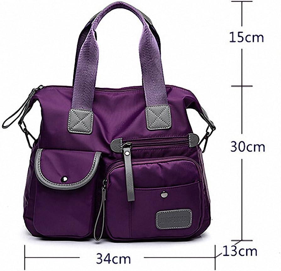 Multifunctional Oxford Cloth Ladies Handbag High-Capacity Nylon Material Shoulder Bag Messenger Bag (Dark Blue)