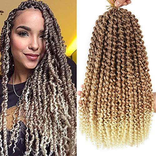 Yunkang 7 Packs Passion Twist Hair 18inch Water Wave Synthetic Braids for Passion Twist 22 Roots Short Bohemian Curly Crochet Braiding Hair Extensions (18inch, M613)