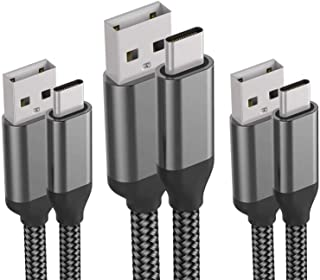 USB C Cable,3PACK 10FT 6FT 3FT,Fast Charging,Nylon,Charger Cord For LG Stylo 5 4 G8X G8 V50 V40 ThinQ,Samsung Galaxy S10e ...