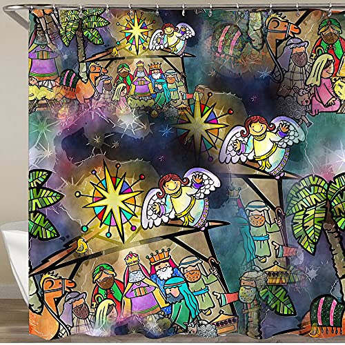 KGSPK Shower Curtains,Christmas Nativity Scene,Washable Waterproof Polyester Fabric Bathroom Curtain With 12 Hooks,180 x 180 cm