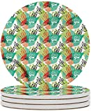 Posavasos de cerámica en colores pastel Posavasos de piedra de cerámica coloridos florales abstractos con base de corcho Taza de café Mantel individual para inauguración de la casa