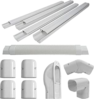 """Goplus 3"""" 15 Ft PVC Line Set Cover Kit for Ductless Mini Split Air Conditioners and Heat Pumps System, Line Cover Kit Decorative Tubing Cover"""