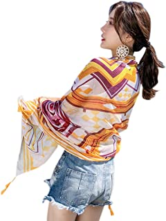 YOUSIKE Ethnic Sunscreen Women Scarf, Geometric Nepal Floral Large Shawl Towel Tassels Swimsuit Cover Up 22 Colors