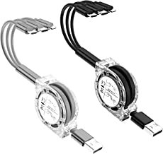 2 Pack 3.3Ft/1m Multi Retractable Fast Charger Cord 3A, 3-in-1 USB Charging Cable for IP/Type-C/Micro-USB Compatible with ...