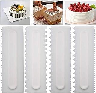 AMACOAM Lisseur Gateau Patisserie Peignes de Décoration de Gâteau Lisse et Durable Gâteau Grattoir Décoration Peigne Patis...
