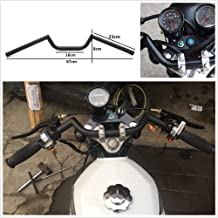 HTTMT HB09-BK 22mm 7/8 Inches Black Handlebar bars with center knurling Compatible with Cafe Racer Ace Clubman Black Handlebar CB500 CB650 CB750 KZ650 KZ550