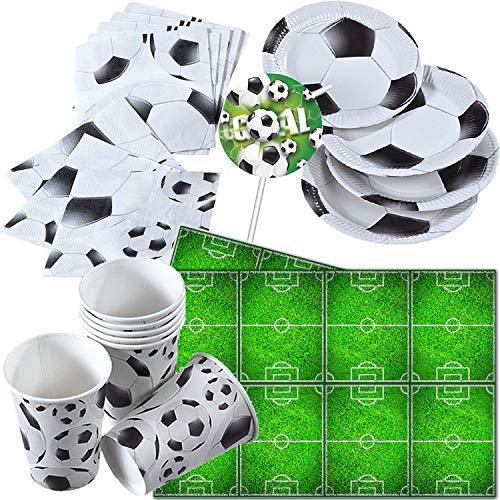 Procos/Carpeta 68-TLG. Partyset * Voetbal * voor themafeest en kinderverjaardag | met bord + beker + servetten + tafelkleed | kinderverjaardag WK EK voetbal