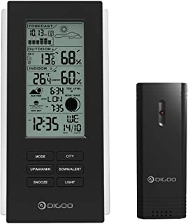 DIGOO 3 Channels Switchable Weather Station, Outdoor Temperature and Frost Clock Alert Function, Barometer Forecast Thermometer with USB Outdoor Sensor, Black