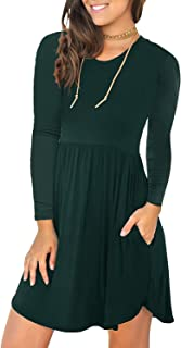 Women's Long Sleeve T Shirt Dresses Casual Swing Dress with Pockets