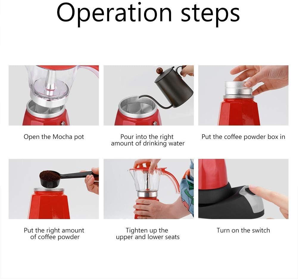 Cafetière électrique moka 6 tasses 480W, 480 ml, au design détachable, facile à nettoyer et à ranger(rouge) Rouge