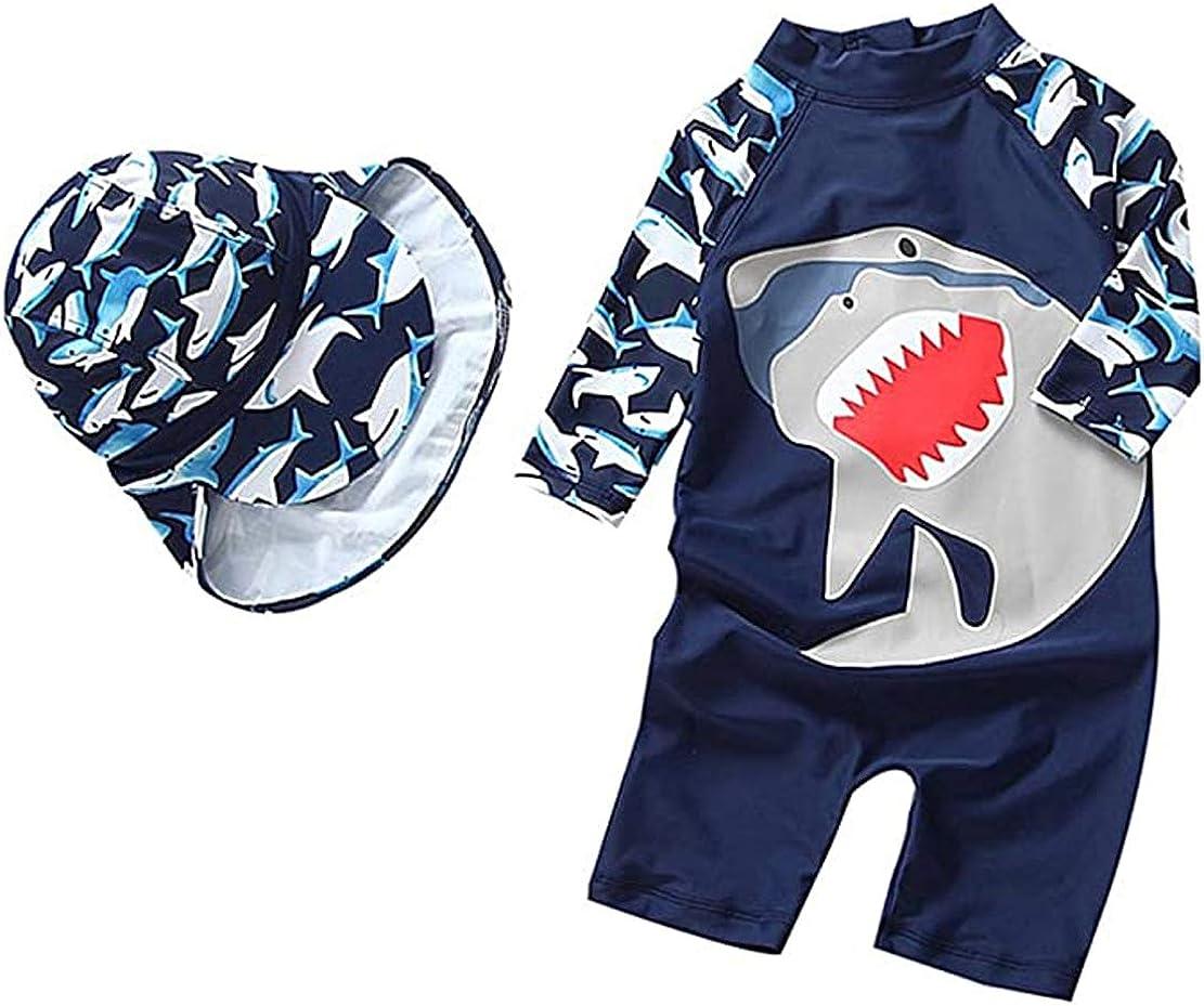 BAOPTEIL Baby Toddler Boys Swimsuit One Piece Kids Zipper Bathing Suit Swimwear with Sun Hat Rash Guard Surfing Suit UPF 50+